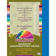 Pacon® Peacock® Sulphite Construction Paper, Blue, 18(H) x 12(W), 50 Sheets