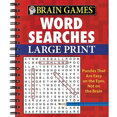 Publications International Brain Games Word Searches Large Print Activity Book, Grades 10 - 12