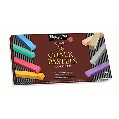 Sargent Art® 48 Piece Lift Lid Square Chalk Pastel, 2 1/2in. x 3/8in., Assorted