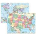 Kappa Map Group Universal Maps US/World Primary Deskpad Map, 5/Pack