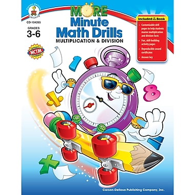 Carson Dellosa® More Minute Math Drills Resource Book, Grades 3 - 6