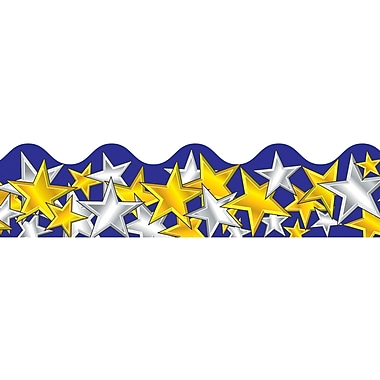 Carson Dellosa® Preschool - 8th Grade Scalloped Border, Gold and Silver Stars