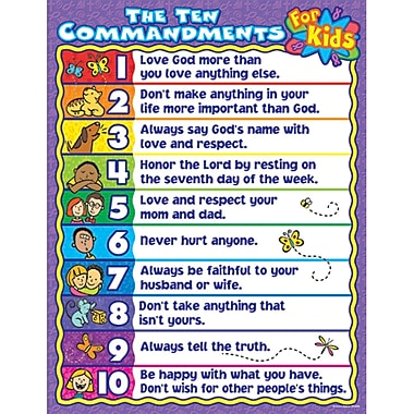 Carson Dellosa® The Ten Commandments For Kids Chart, Christian