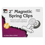 "Charles Leonard 2"" Magnetic Spring Clip, 12/Box"