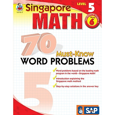 Carson Dellosa® Frank Schaffer Singapore Math 70 Must-Know Word Problems Level 5 Workbook, Grades 6