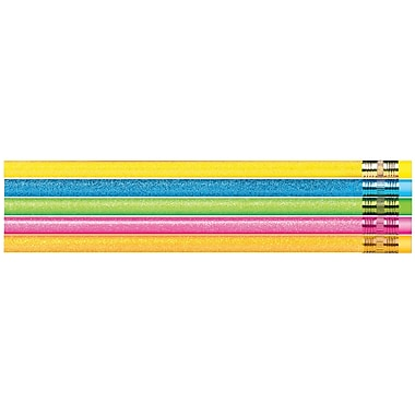 J.R. Moon Pencil Co. Glitter Sparkle Pencil, Assorted, 12/Pack