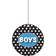 Ashley White Dots on Black Boys Hall Pass, 3 3/4""
