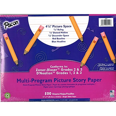 Pacon® 5/8in. Ruled Multi-Program Handwriting Picture Story Paper, 12in. x 9in., 500 Sheets