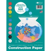 Roselle Vibrant Construction Paper, Assorted, 12(H) x 9(W), 500 Sheets
