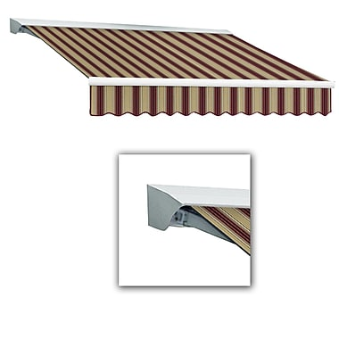 Awntech® Destin® LX Left Motor Retractable Awning, 12' x 10', Burgundy/Tan Multi