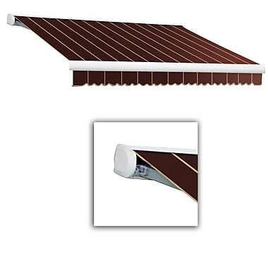 Awntech® Key West Full-Cassette Right Motor Retractable Awning, 14' x 10', Burgundy Pinstripe