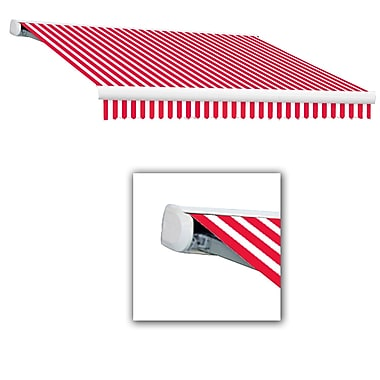 Awntech® Key West Full-Cassette Right Motor Retractable Awning, 12' x 10', Red/White