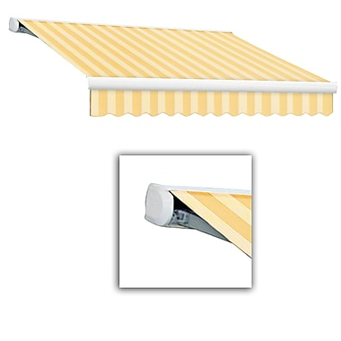 Awntech® Key West Full-Cassette Right Motor Retractable Awning, 16' x 10', Linen Pinstripe
