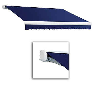 Awntech® Key West Full-Cassette Right Motor Retractable Awning, 20' x 10', Navy