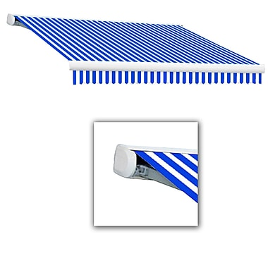 Awntech® Key West Full-Cassette Manual Retractable Awning, 20' x 10', Bright Blue/White