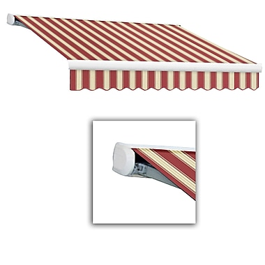 Awntech® Key West Full-Cassette Right Motor Retractable Awning, 8' x 7', Burgundy/White Multi