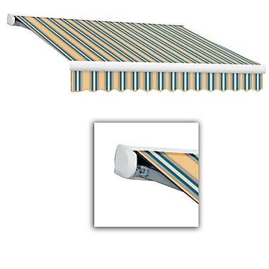 Awntech® Key West Full-Cassette Manual Retractable Awning, 16' x 10', Tan/Teal