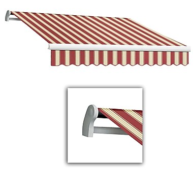 Awntech® Maui® LX Manual Retractable Awning, 8' x 7', Burgundy/White Multi
