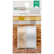 American Crafts™ 10 Yard DIY Shop 6 Alternating Patterns Washi Tape, Gold & Silver, 2 Roll/Pack