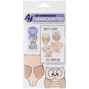 Art Impressions 7 x 4 Front-N-Backs Cling Stamp Set, Owl and Monkey