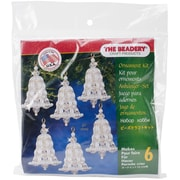 "Beadery® Holiday Beaded Ornament Kit, 7"" x 6"" x 1"", Crystal & Pearl Bell"