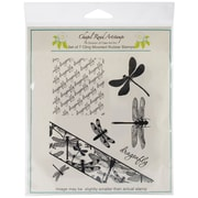 Class Act Chapel Road 5 3/4 x 6 3/4 Cling Mounted Rubber Stamp Set, Angle Dragonfly