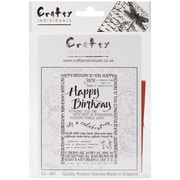"Crafty Individuals 4 3/4"" x 7"" Unmounted Rubber Stamp, Happy Birthday Calligraphy"