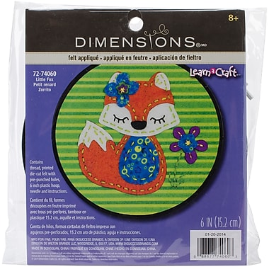 Dimensions Learn-A-Craft Little Fox Felt Applique Kit, 6