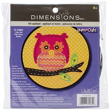 Dimensions Learn-A-Craft Little Owl Felt Applique Kit, 6