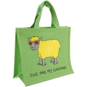 "Dublin Gift Cotton/Jute 14""H x 12""W x 7.5""D Ewe Are My Sunshine Re-usable Shopping Bags, Green"