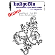 "Indigoblu 4"" x 4"" A7 Red Rubber Cling Mounted Stamp, English Flourish-Dinkie"