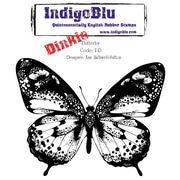 "Indigoblu 4"" x 4"" A7 Red Rubber Cling Mounted Stamp, Flutterby-Dinkie"
