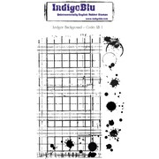 Indigoblu 5 x 8 A6 Red Rubber Cling Mounted Stamp, Ledger Background