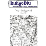 Indigoblu 5 x 4 A6 Red Rubber Cling Mounted Stamp, Map Background