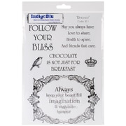 Indigoblu 10 x 6 1/2 A5 Red Rubber Cling Mounted Stamp, Rococo