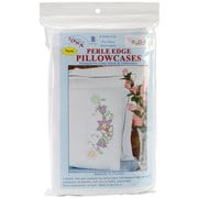 Jack Dempsey Stamped Pillowcase With White Perle Edge, Butterfly and Flowers