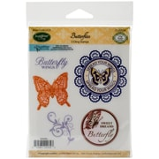 Justrite® Papercraft 3 1/2 x 4 Mini Cling Stamp Set, Butterflies