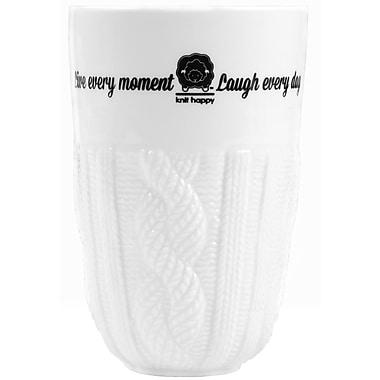 K1C2 Cable Knit Happy 13 oz.Tumbler, White