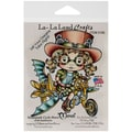 La-La Land Crafts 4in. x 3in. Cling Mount Rubber Stamp, Steampunk Cycle Marci