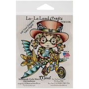 "La-La Land Crafts 4"" x 3"" Cling Mount Rubber Stamp, Steampunk Cycle Marci"