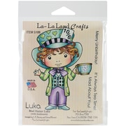 "La-La Land Crafts 4"" x 3"" Cling Mount Rubber Stamp, Mad Hatter Luka"
