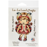 "La-La Land Crafts 4"" x 3"" Cling Mount Rubber Stamp, Ladybug Marci"