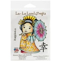 La-La Land Crafts 4in. x 3in. Cling Mount Rubber Stamp, Kimono Marci With Umbrella