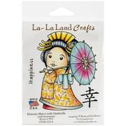"""La-La Land Crafts 4"""" x 3"""" Cling Mount Rubber Stamp, Kimono Marci With Umbrella"""