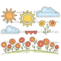 La-La Land Crafts 4in. x 3in. Cling Mount Rubber Stamp, Sunny Day Background Elements