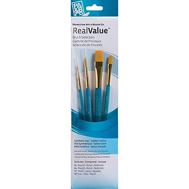 Princeton Art & Brush™ RealValue™ Round Size 1 & 4 Synthetic Gold Taklon Brush Set