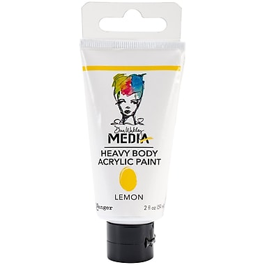 Ranger Dina Wakley Media Heavy Body 2 oz. Acrylic Paint, Lemon