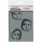 "Ranger Dina Wakley 6"" x 9"" Media Stencil, Moon Faces"