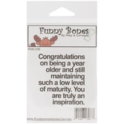 Riley & Company Funny Bones 2 x 2 1/2 Cling Mounted Stamp, A Year Older