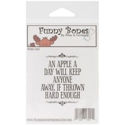 Riley & Company Funny Bones 2 x 2 1/2 Cling Mounted Stamp, An Apple A Day